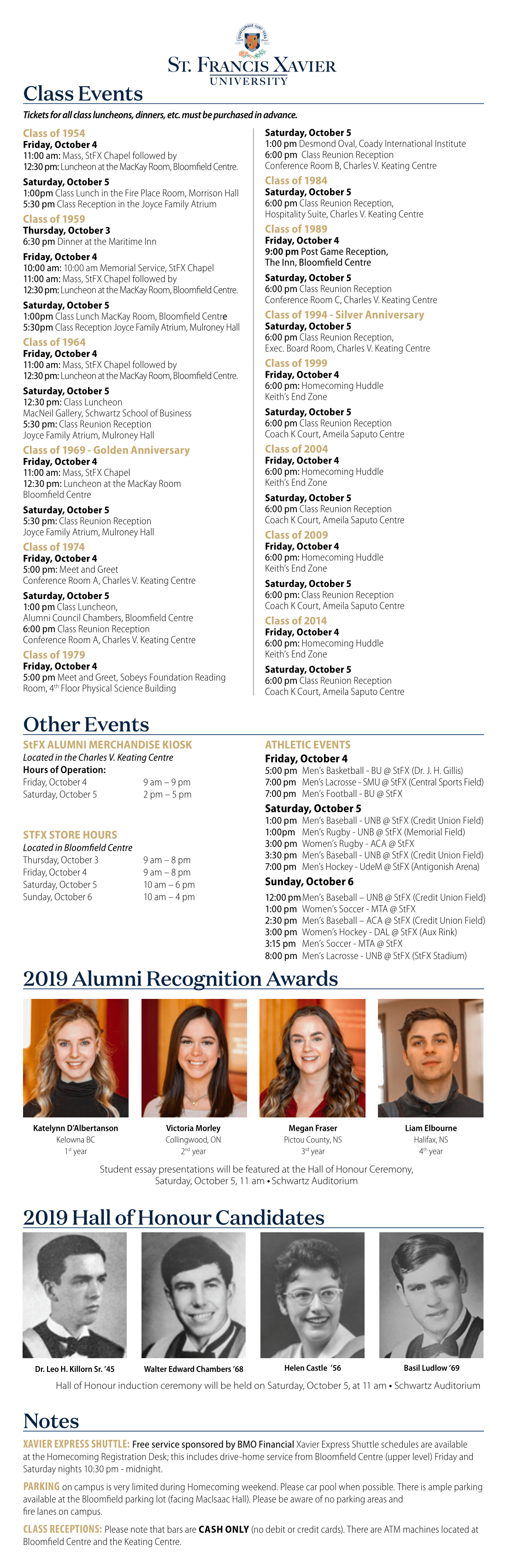 2019 Homecoming Schedule